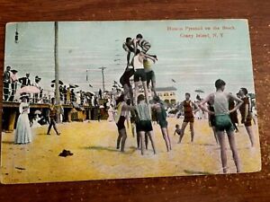 Details about CONEY ISLAND, NY New York HUMAN PYRAMID on the BEACH 1910  Postcard