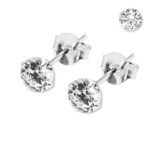 2 Stück hübsche 925 echt Silber Ohrstecker 3 Größen Stern Herz Kristall Straß