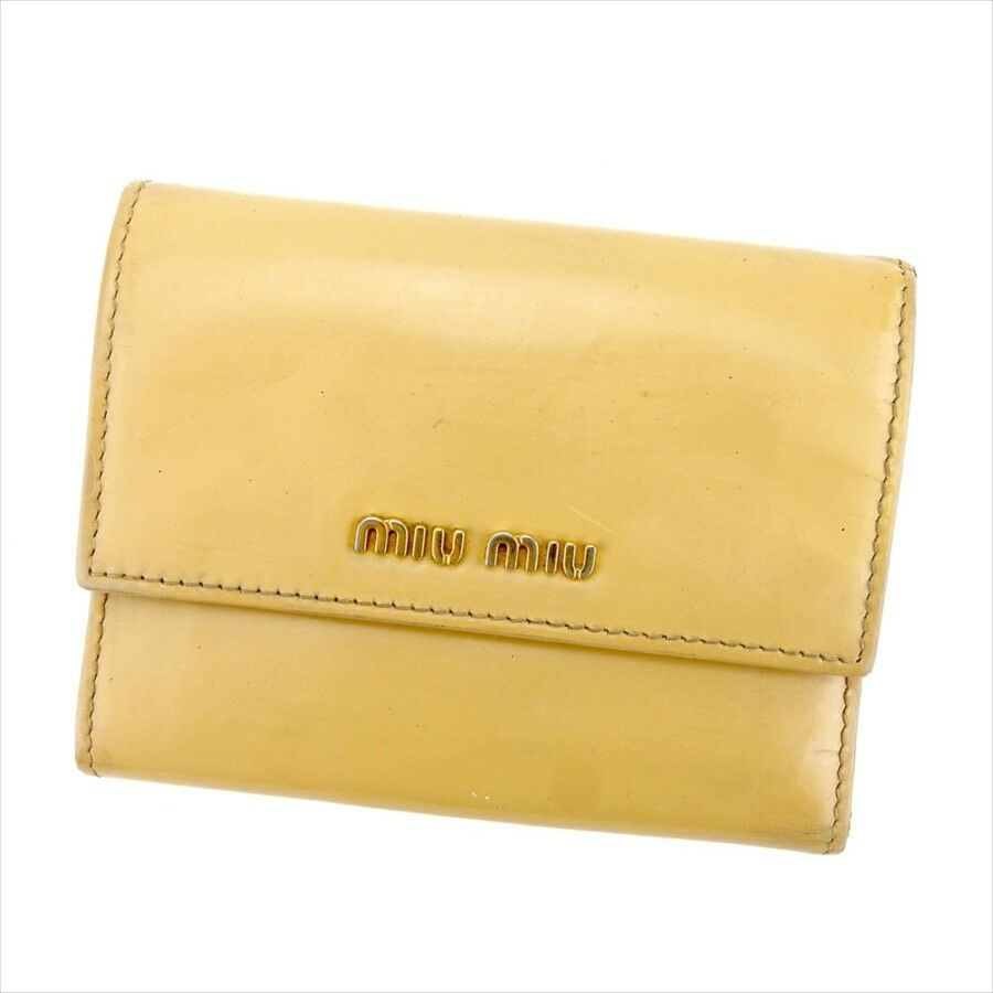 miumiu Wallet Purse Trifold Logo Beige Gold Woman Authentic Used L2022