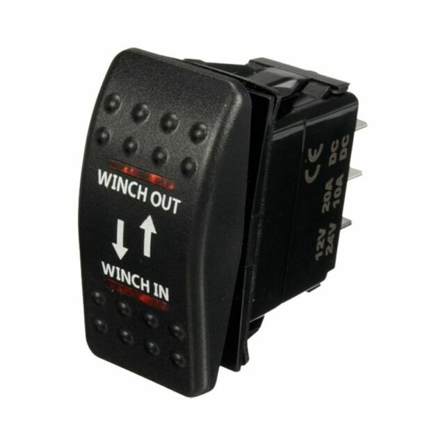 12V 20A Winch In Winch Out ON-OFF-ON Rocker Switch 7 Pin LED RED P5N4