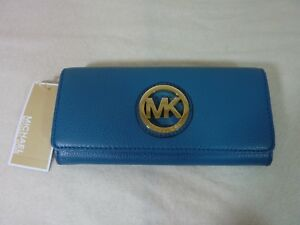 1658284138c8 Image is loading MICHAEL-by-Michael-Kors-Turquoise-Leather-Fulton- Continental-