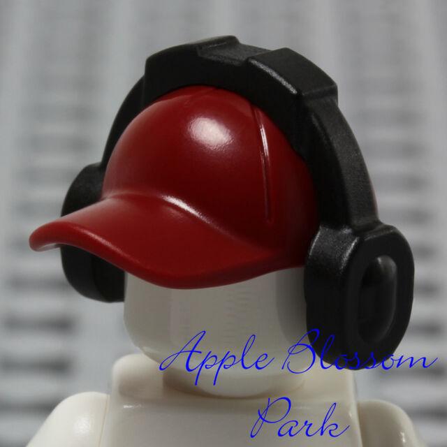 NEW Lego Minifig Dark RED BASEBALL CAP Sports Hat Head Gear w//Music Ear Phones