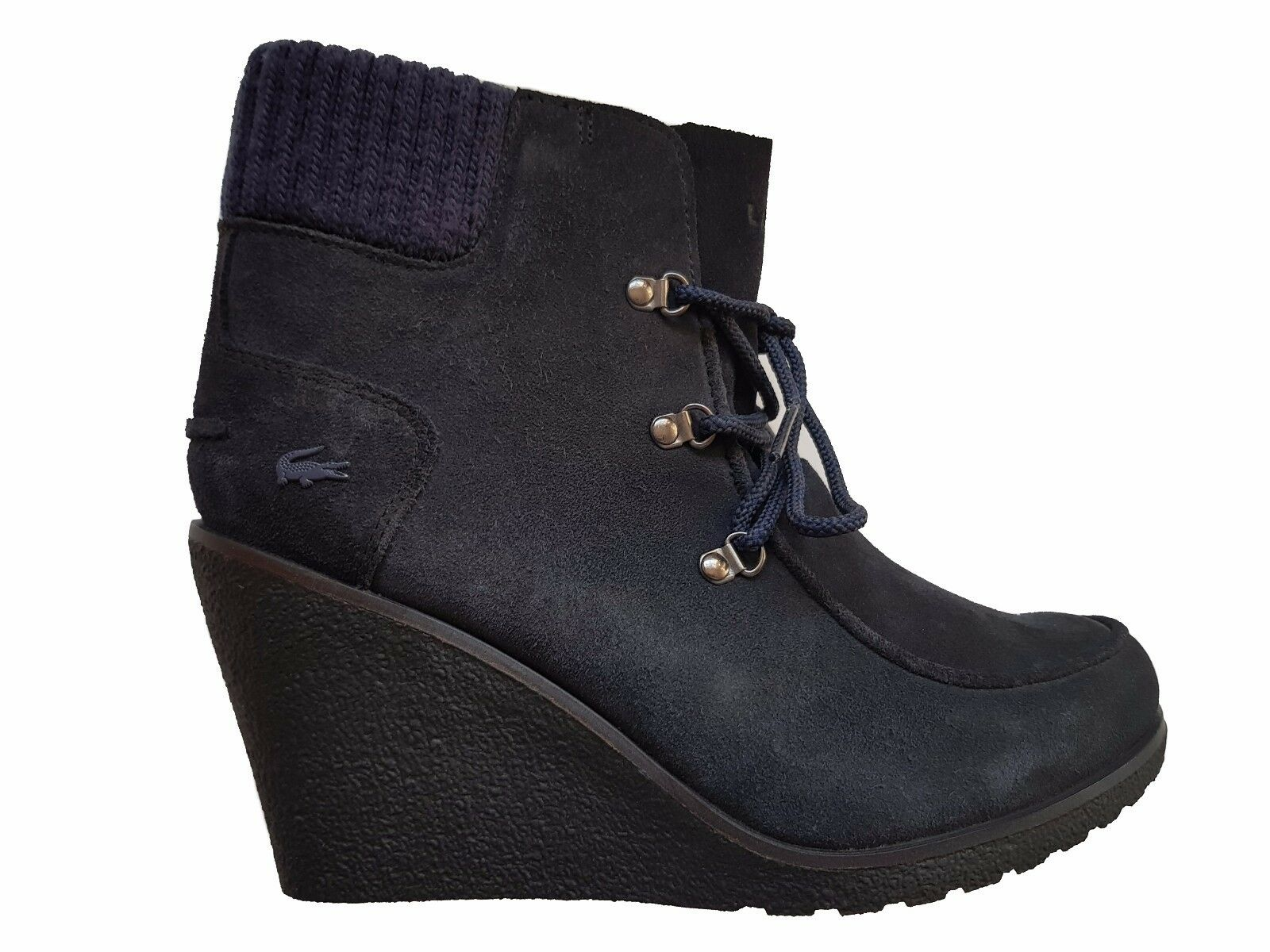 Lacoste Adalyn Wedge ankle Boots, Suede, Dark bluee - Multi sizes from 3.5UK- 8UK