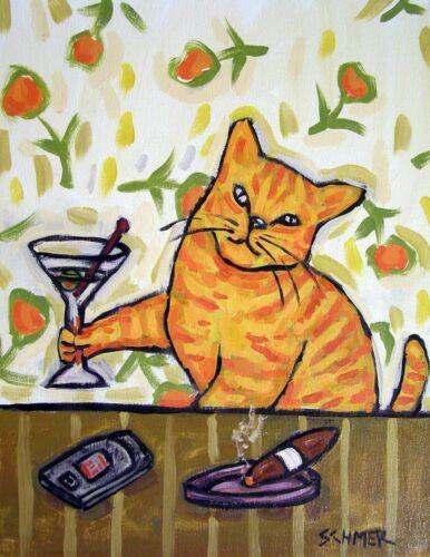 ORANGE ginger cat art  art artist print 13x19 martini animals gift new