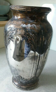 ANTIQUE-19TH-C-FRENCH-ART-NOUVEAU-SILVER-PLATED-VASE-VICTOR-SAGLIER-FRERES
