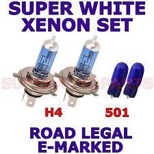 FITS FIAT SEICENTO 1998-2002  SET H4 501 XENON SUPER WHITE LIGHT BULBS