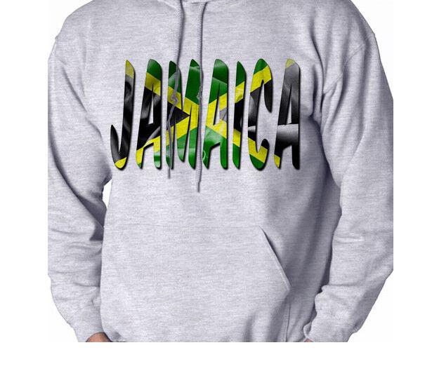 Jamaica Flag Print Men's Sweatshirt Hooded Shirt Hoodie Gift Grey