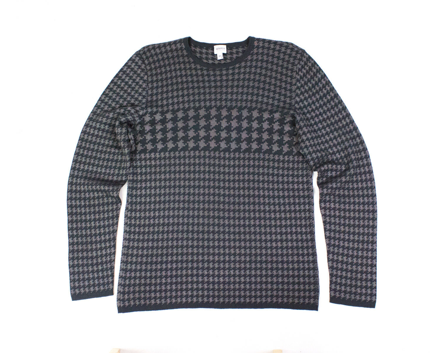 ARMANI COLLEZIONI men's Wool Blend Houndstooth Pattern Sweater, SIZE XL
