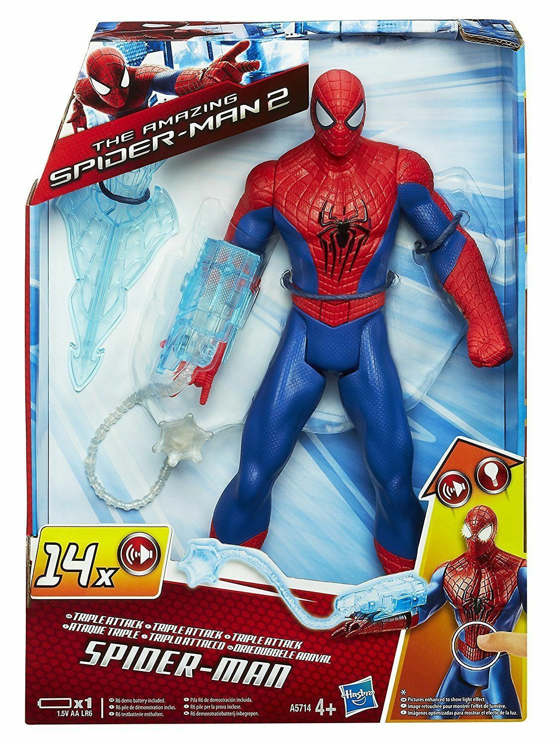 New Spiderman Triple Attack Attack Attack Spider-man Action Figure Battery Operated Kid Toy 6e8e59