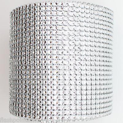 """5 YARDS X 4.75"""" SILVER DIAMOND MESH WRAP ROLL SPARKLE RHINESTONE CRYSTAL RIBBON"""