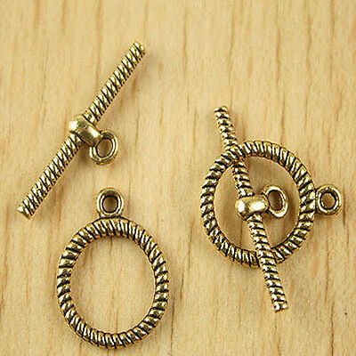 10sets dark gold-tone round toggle clasps h2872