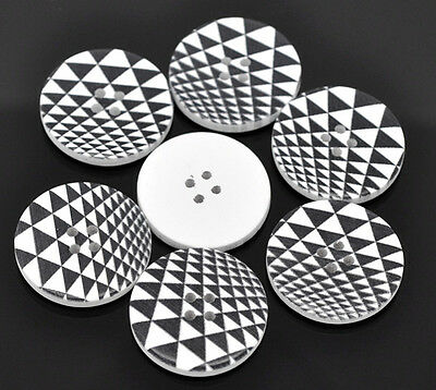 6 Wooden  Retro Black & White Buttons 30mm 3cm Sewing scrap book
