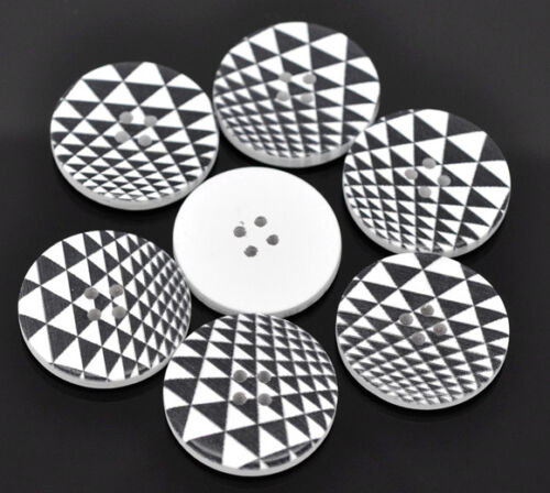 6 Wooden  Retro Black /& White Buttons 30mm 3cm Sewing scrap book