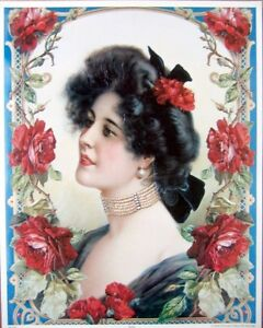 art-print-ROSE-Victorian-Lady-Woman-Flowers-vtg-repro-11-5x14-5