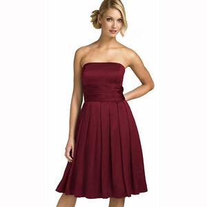 545b23f44754 A-Line Strapless Knee Length Satin Cocktail Party Bridesmaid Prom Dress  Burgundy | eBay