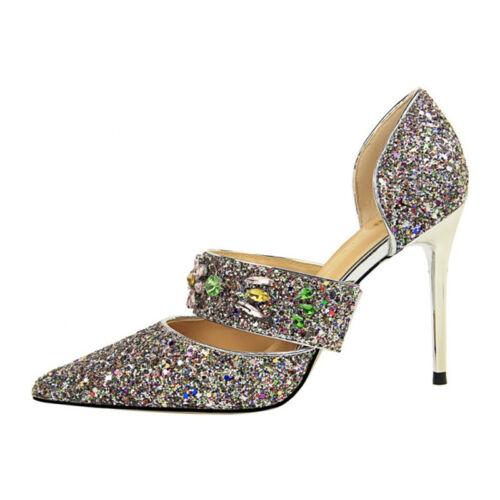 Fashion Women Sequin Rhinestone High Heels Party Stiletto Sandals Clubwear Shoes