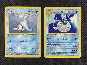 Juego-Pokemon-Casi-Nuevo-Seel-amp-Dewgong-1st-edicion-sin-sombra-base-Set-25-102-41-102
