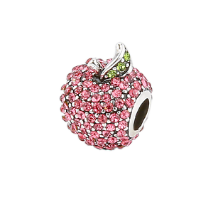 Red Glittering Pave Apple Heart Charm fits Silver Bracelets+Gift Pouch UK Seller
