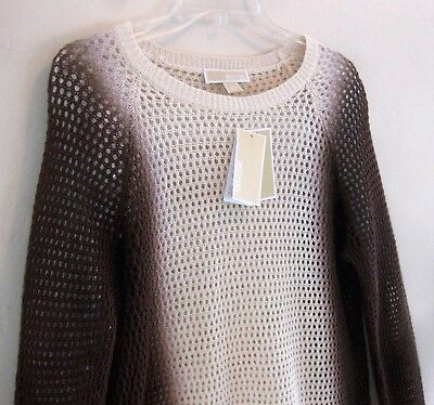 NWT Michael Kors sweater L Cotton bl Brown $150 Ombre Open knit Crew Cream Layer