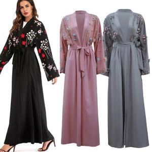 Details about UAE Abaya Dubai Women Embroidery Floral Muslim Kimono  Cardigan Hijab Maxi Dress