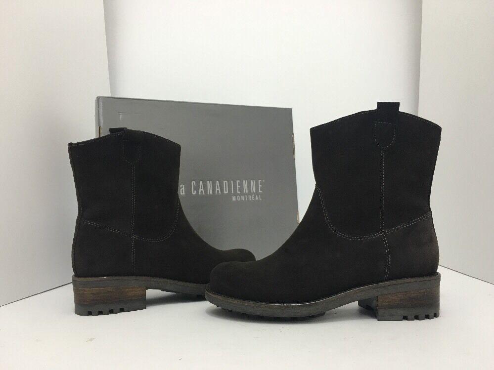 La Canadienne Cece Women's Low Heel Winter Ankle Boots Brown Suede Size 6.5 M