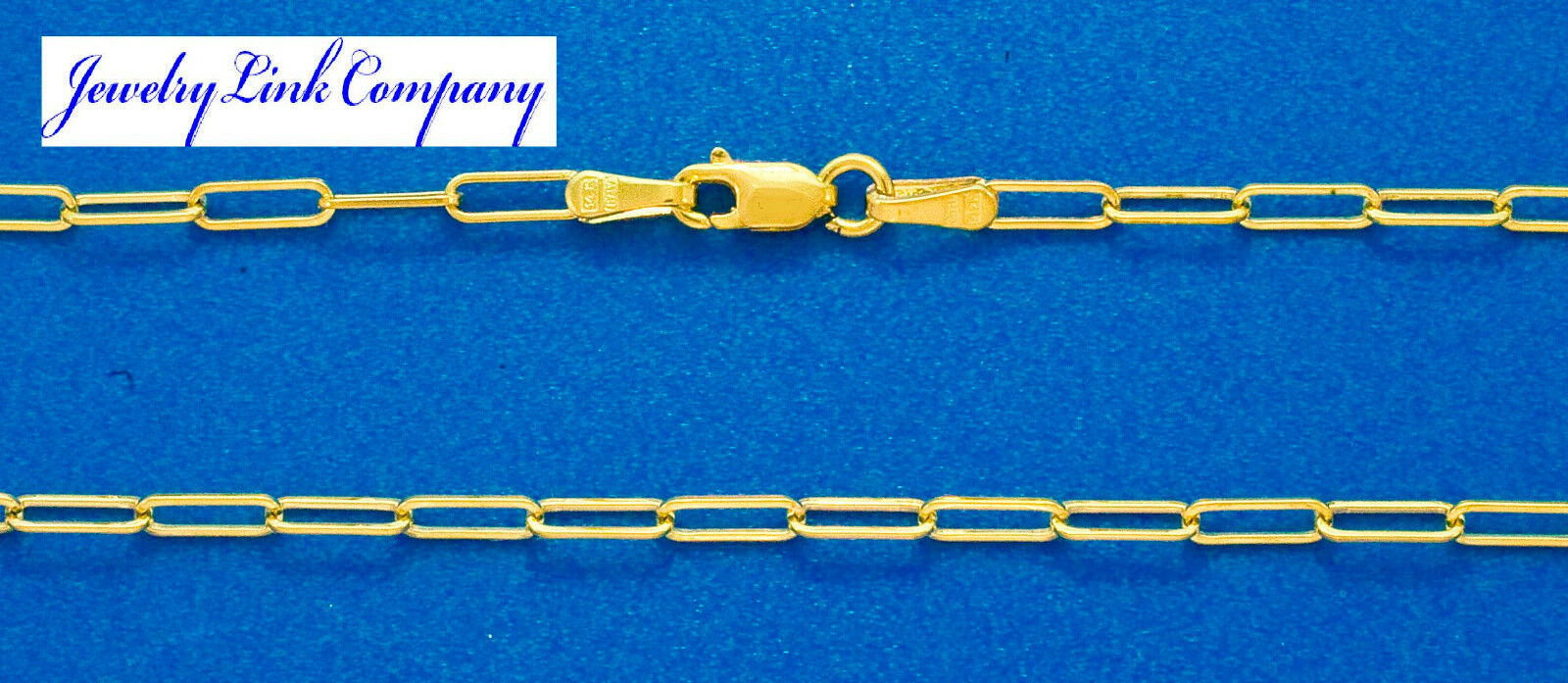 14K Solid Yellow gold Open Elongated Link Chain 2.1mm 3.4gr Italian Made 20