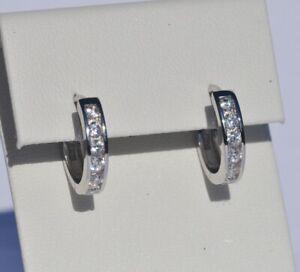 Echt-925-Sterling-Silber-Ohrringe-Creolen-Zirkonia-Hochzeit-15-mm-Nr-336