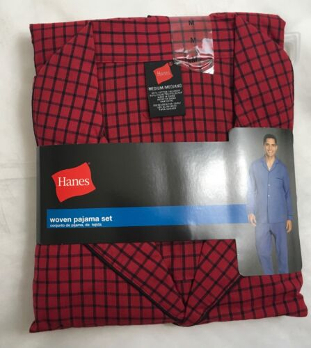 Hanes Men/'s Woven Pajama Set Long Sleeve Sleepwear 20792 Red Checkered M