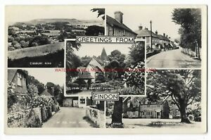 Sussex-Multiview-Findon-nr-Worthing-Real-Photo-Vintage-Postcard-24-11