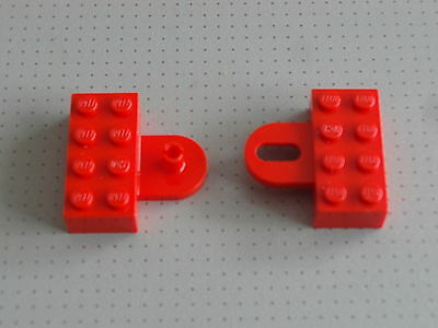 2 x 4 Stud Red Coupling Lego Train 737 737bc01 Hook /& Closed Loop