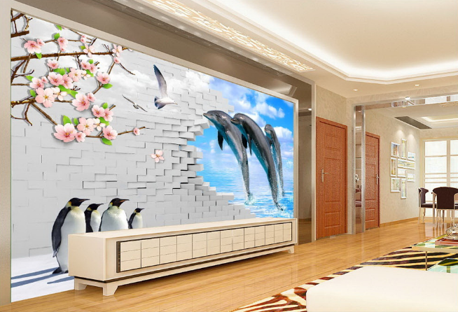 3D Penguin Dolphin Squid Paper Wall Print Wall Decal Wall Deco Indoor Murals