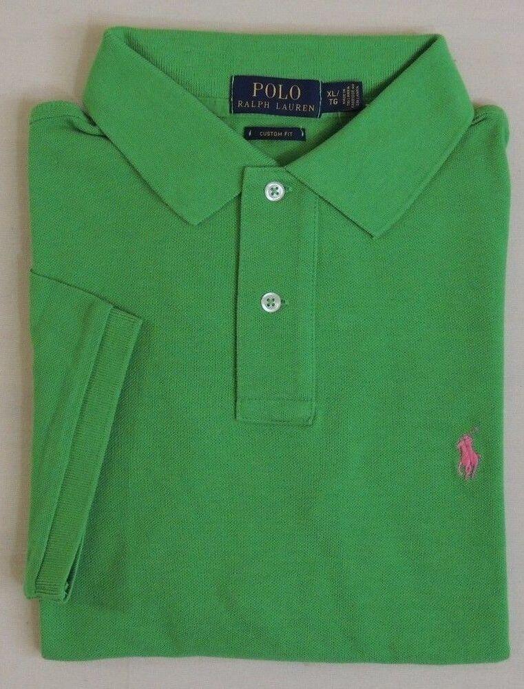 $85 Polo Ralph Lauren Blue Label Ajustement Personnalisé Poney Classic-mesh Shirt Vert S M Xl