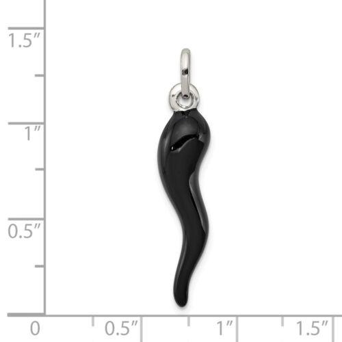 Sterling Silver Enamel Italian Horn Charm Pendant