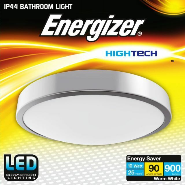 Energizer 10w Led Silver Ceiling Light Ing Bathroom Ip44 Rated 26cm Dia