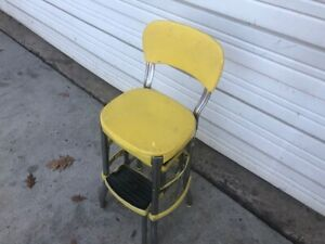 1950s Kitchen Retro Vintage Cosco Yellow Step Stool Chair