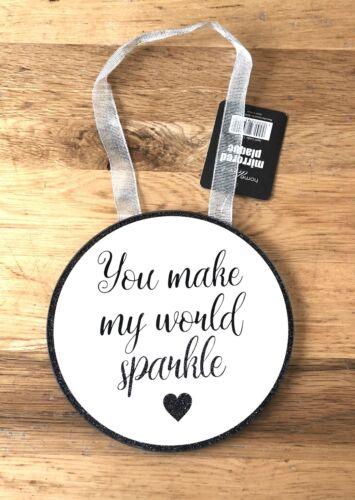 Hanging Mirrored Glitter Sparkle Plaque Gold or Black Gift Present Girls Women