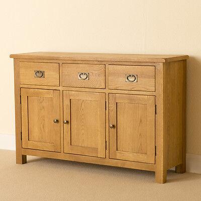 Lanner Oak Large Sideboard / 3 Door Hand Waxed Sideboard / Rustic Oak Cupboard