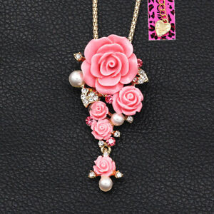 Betsey-Johnson-Resin-Pearl-Crystal-Rose-Flower-Pendant-Chain-Necklace-Brooch-Pin