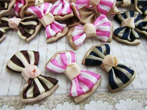 60 Pink//Brown//Black Stripes Satin Ribbon Bow Applique//French Knot//Hand made F4