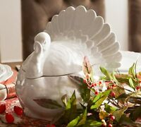 Pottery Barn Turkey Tureen Bowl White Thanksgiving Figural Serving Large