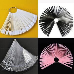 Nail-False-Display-Nail-Art-Fan-Wheel-Polish-Practice-Pop-Tip-Sticks-50Pcs