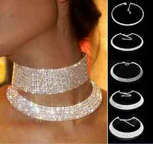 Fashion-Crystal-Collar-Necklace-Choker-Necklaces-Wedding-Birthday-Party-Jewelry