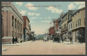 Nyack-NY-c-1910-Postcard-MAIN-STREET-FROM-BROADWAY-Looking-West-Stores-Bank