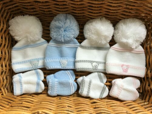 NEWBORN BABY GIRL BOY KNITTED POM POM BOBBLE HAT /& MITTS GIFT SET WHITE BLUE