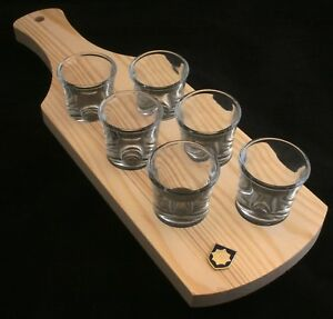 Irish Guards Shield Set of 6 Shot Glasses with Wooden Paddle Tray Holder FNfYzlc5-09103402-712769706