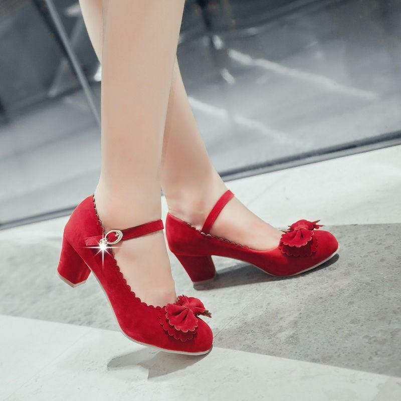 Stylish Plus Size Lolita Womens Sweet Bowknot Ankle Strap Strap Ankle Round Toe Block Heels 940228