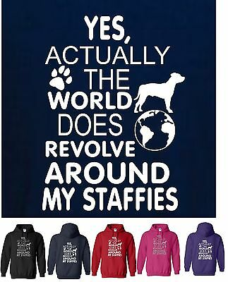 2XL Dog Funny Adult Hoody S YES actually world DOES revolve around my DOGS