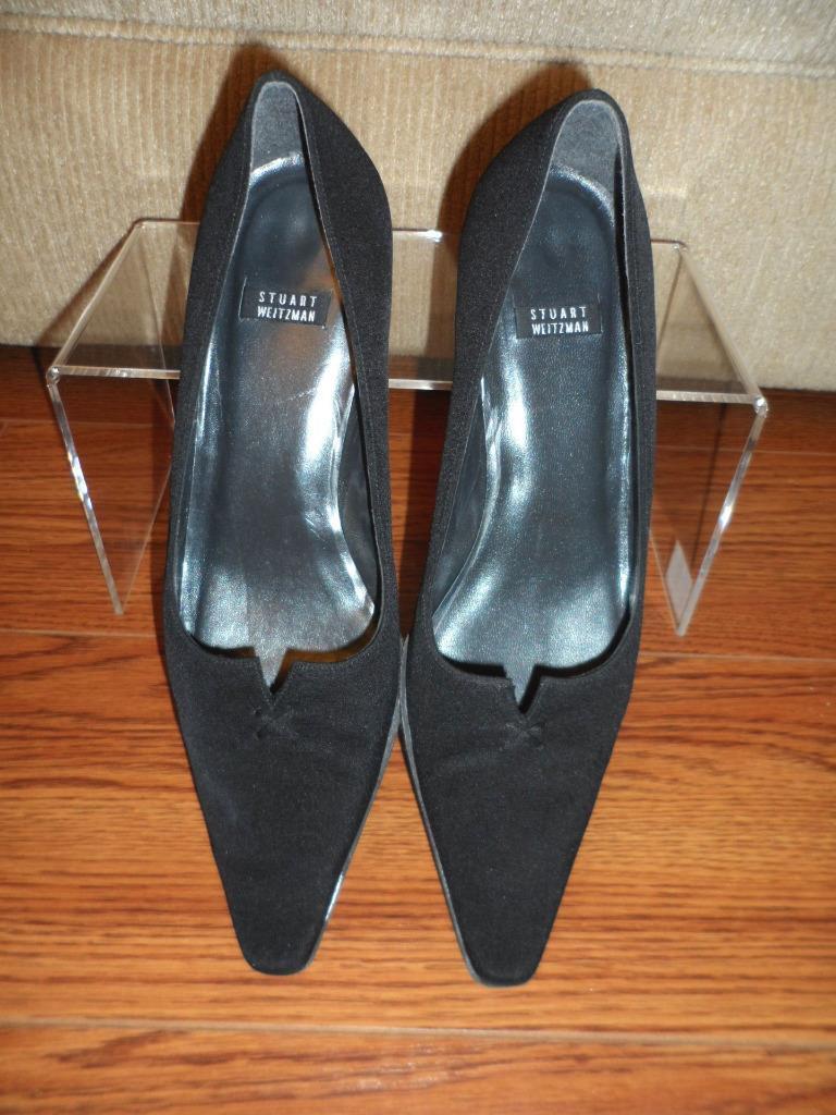 Stuart Weitzman Women's Black Nylon Leather Shoes Pointed Toe Pump Heel Shoes Leather Size 7 B 5dca26