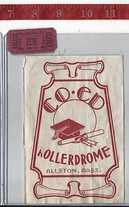 vintage lot roller rink decal Co-Ed Rollerdrome Allston Ma & ticket FREE SHIPPIN