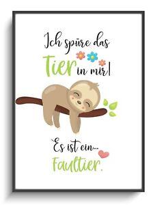 Details Zu Poster A4 Faultier Spüre Wanddeko Bild Kinderzimmer Geschenk Spruch Lustig Druck